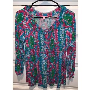 LILLY PULITZER mermaid scale woman's M blouse